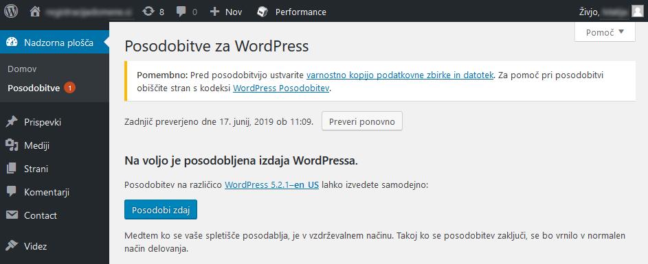 WordPress posodobitev